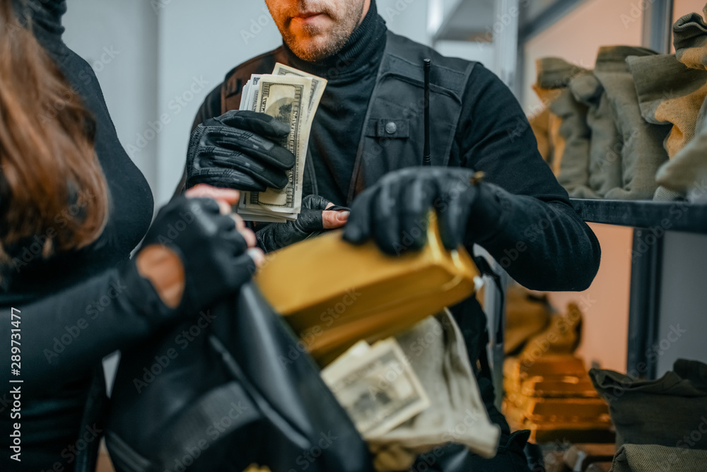 Fototapeta Bank robbery of the century, robbers hacked vault