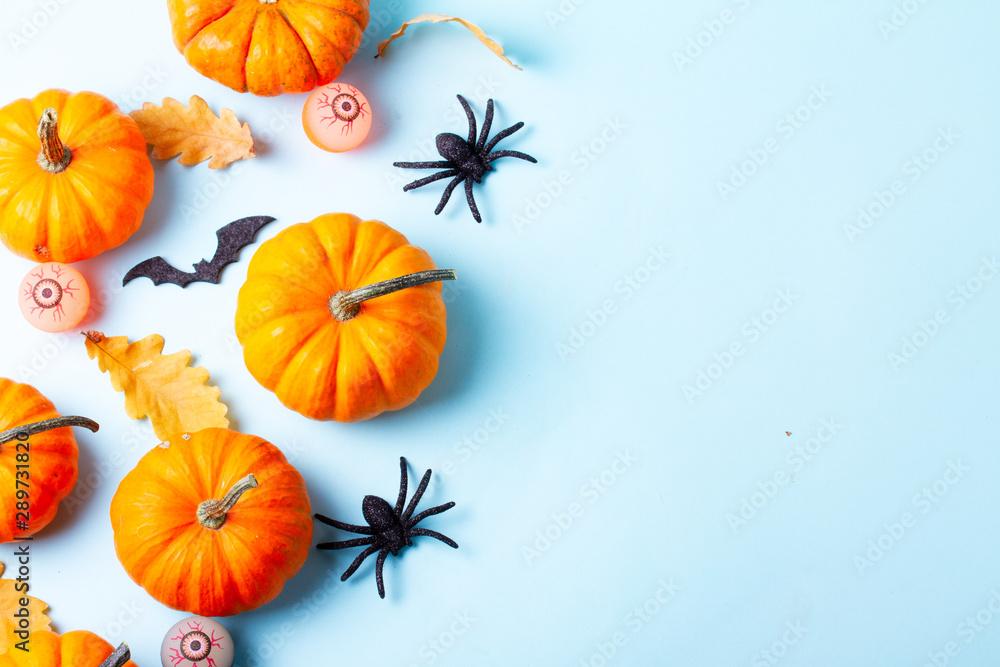 Fototapeta Halloween flat lay background