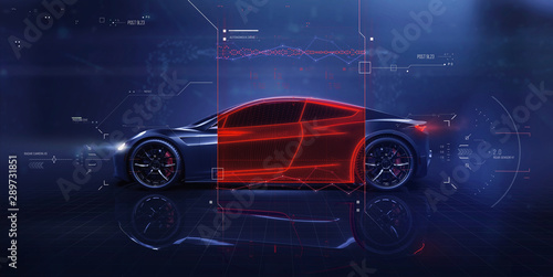Futuristic car technology concept scene with user interface showing cross sectio Canvas Print