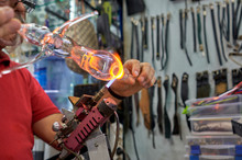 Master Blows Glass On Fire