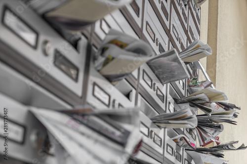 Obraz na plátně  Modern metal mail boxes