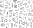 Hypermarket store food, appliances, clothes, toys seamless icons background pattern