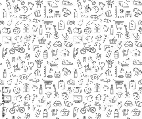 fototapeta na drzwi i meble Hypermarket store food, appliances, clothes, toys seamless icons background pattern