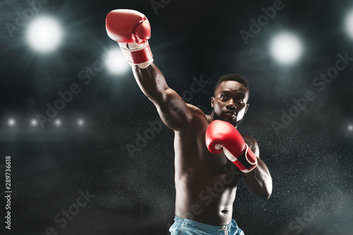 Photo  Picture of professional black mma boxer fighting on stadium arena