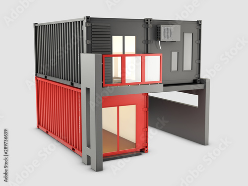 In de dag Schip 3d Illustration of Converted old shipping container into house, isolated gray