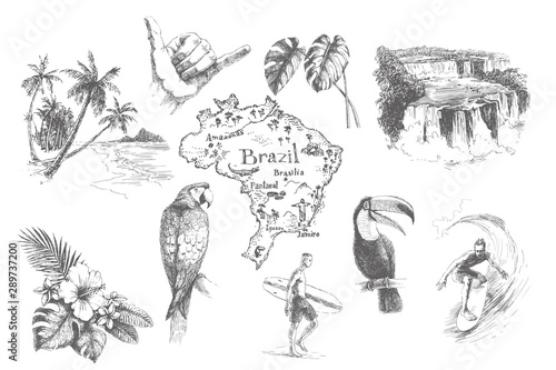 Fotografie, Obraz Vector vintage set illustrations of symbols tropical summer vacation