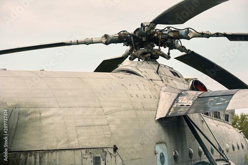 Obraz na plátně  Propeller from a helicopter close-up on a background of gray sky