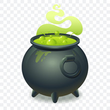 Witch Cauldron With Bubbling G...