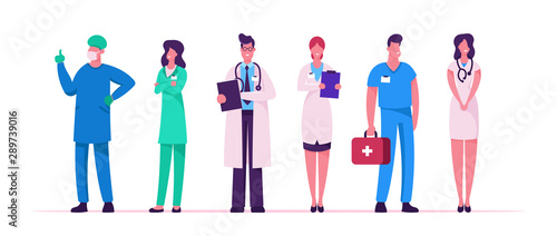 Hospital Healthcare Staff Set, Doctors in Medical Robe with Stethoscope Holding Canvas Print