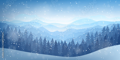 Canvas Prints Blue sky Vector illustration. Flat landscape. Snowy background. Snowdrifts. Snowfall. Clear blue sky. Blizzard. Cartoon wallpaper. Cold weather. Winter season. Forest trees and mountains. Design for website