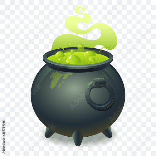 Fototapeta  Witch cauldron with bubbling green liquid isolated on transparent background