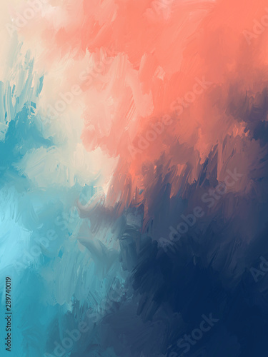 abstract watercolor background. Hand drawn Brushstrokes Abstract oil painting on canvas. soft orange & deep blue Color Gradation texture artwork