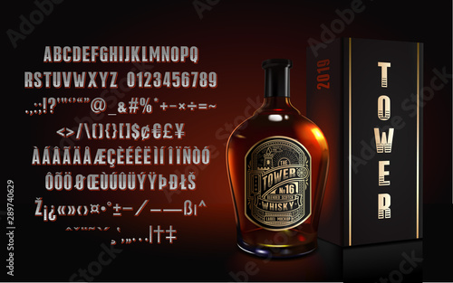 Photo sur Aluminium Bar the Tower. Vintage font and bonus, whisky bottle mockup