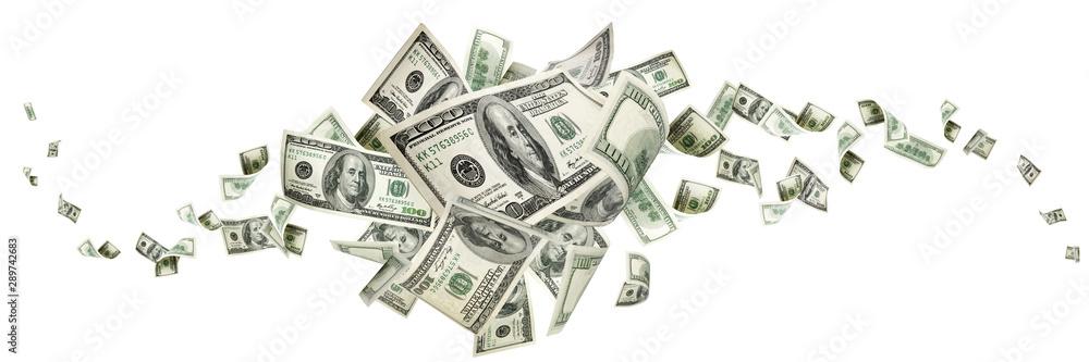 Fototapeta Money background. Hundred dollars of America. Usd cash money falling.