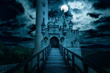 Scary Gothic Castle On Halloween, Old Spooky House At Night With Moon. Fantasy View Of Lichtenstein Castle, Germany.