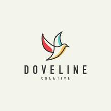 Outline Of A Dove Logo - Vector Illustration Design On A Light Background