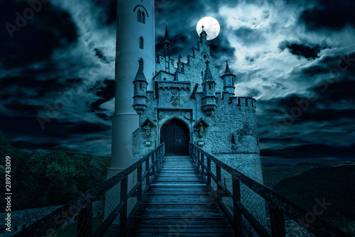 Naklejki do przedszkola  naklejka-na-wymiar-lichtenstein-castle-at-night-germany-old-spooky-house-in-full-moon-creepy-view-of-dark-mystery-mansion-scary-gloomy-scene-with-haunted-gothic-castle-for-halloween-theme-horror-and-terror-concept