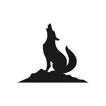 Coyote,wolf On Hill Logo Design,silhouette,element For Vintage Logo.conceptual Illustrator Vector