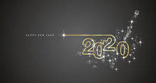 New Year 2020 Line Design Firework Champagne Gold Shining White Black Vector