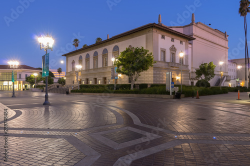 Fotografie, Tablou  Image at the Pasadena Civic Auditorium at civil twilight.