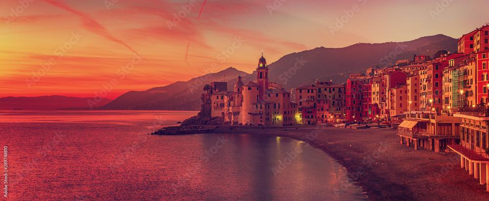 Fototapeta Camogli city at sunset