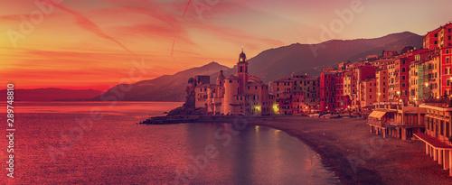 Camogli city at sunset Fototapeta