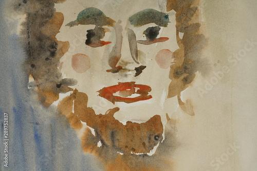 Türaufkleber Darknightsky Portrait painting
