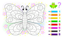 Math Education For Children. Coloring Book. Mathematical Exercises On Addition And Subtraction. Solve Examples And Paint Butterfly. Developing Counting Skills. Printable Worksheet For Kids Textbook.