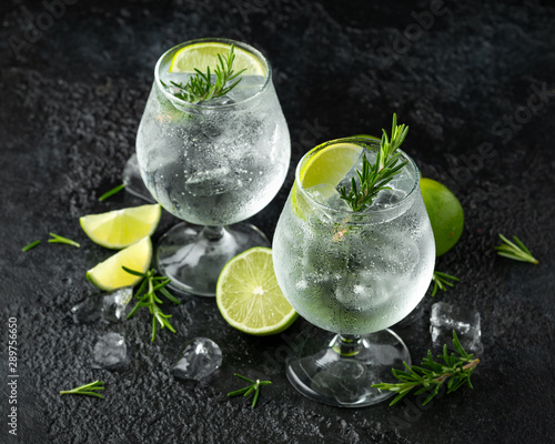 obraz lub plakat Gin and Tonic Alcohol drink with Lime, Rosemary and ice on rustic black table