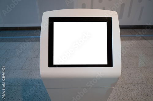 Mock up template/background texture of a blank white touch screen kiosk machine Canvas Print