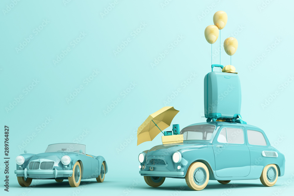 Fototapeta Concept retro car with luggage surrounded by travel equipment in green color tone. 3d rendering