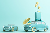 Concept retro car with luggage surrounded by travel equipment in green color tone. 3d rendering