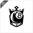 Billiard 8 Ball King Logo Vector