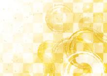 和風 市松 円 背景素材 金色
