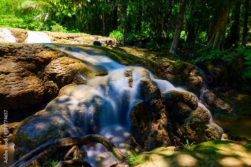 Photo  Keringkraweia waterfall at Kanchanaburi,A small waterfall on the way to go to Sangklaburi,thailand