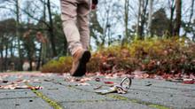 Man Walking Away From Lost Home Keys