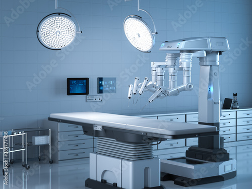 surgery room with robotic surgery Wallpaper Mural
