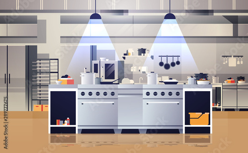 modern interior of professional cafe or restaurant kitchen with kitchenware and equipment cooking culinary concept flat horizontal