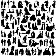 Set Of Silhouettes Of Wedding Couples. Many Diverse Grooms And Brides.