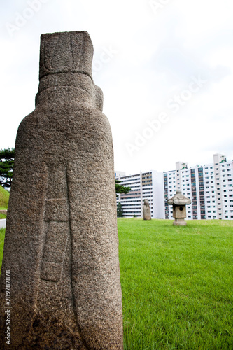Korean traditional stone statue in front of grave. Wallpaper Mural