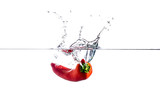 tomatoes in water splash isolated on white