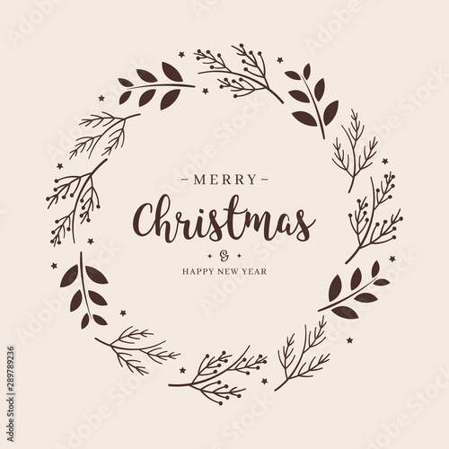 Fotografie, Obraz  Merry Christmas greeting text branch wreath circle background