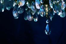 Crystal Chandelier Close-up. Dark Background