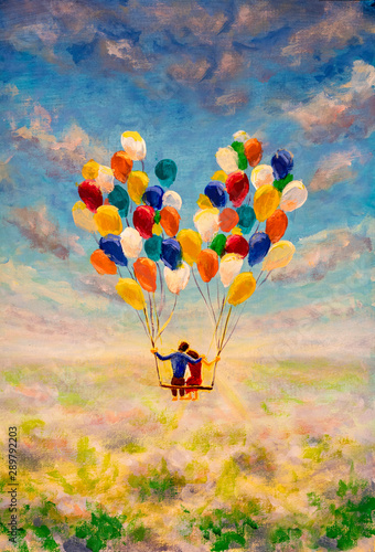 Young couple in love fly on air balloons illustration. Fantasy art contemporary painting with many flying balloons modern art for book