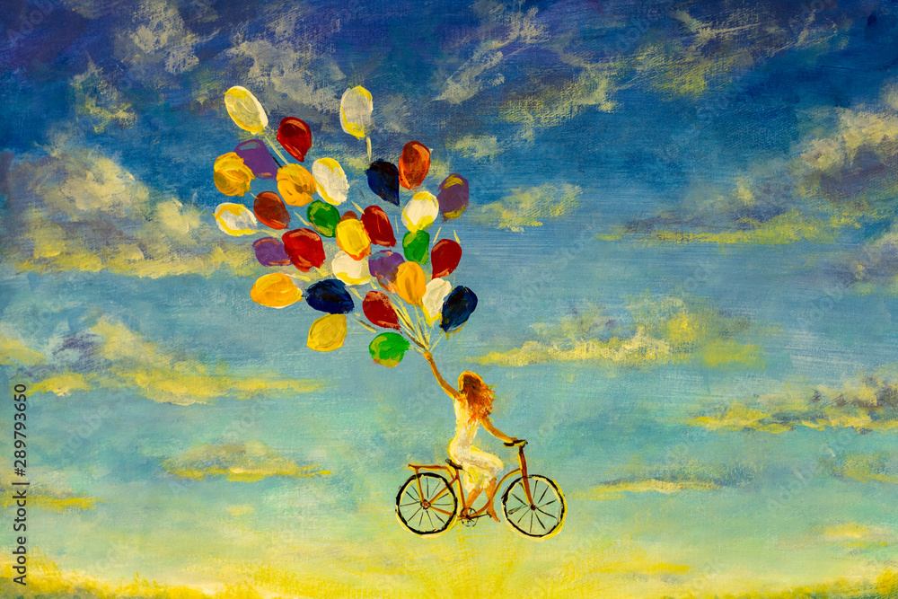 Fototapety, obrazy: Painting Beautiful happy girl in white dress on bicycle with multi-colored balloons rides across sky illustration artwork fine art