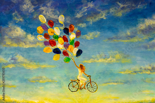 Painting Beautiful happy girl in white dress on bicycle with multi-colored balloons rides across sky illustration artwork fine art