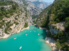 France, July 2019: St Croix Lake, Les Gorges Du Verdon With Tourists In Kayaks, Boats And Paddle Boats., Provence