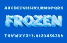 Frozen Alphabet Font. 3D Ice L...