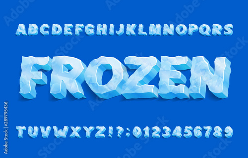 Obraz Frozen alphabet font. 3D ice letters and numbers with shadow. Stock vector typeface for your typography design. - fototapety do salonu