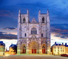 Night View On The Saint Pierre Cathedral In Nantes City In France